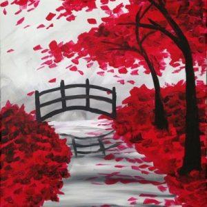 Red tree garden